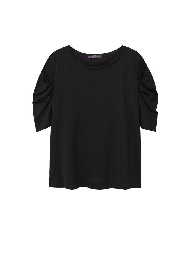 Gathered sleeve t-shirt