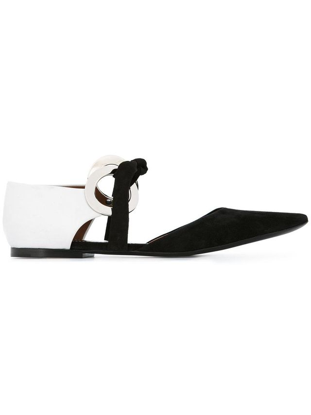 Suede and Leather Grommet D'Orsay Flat