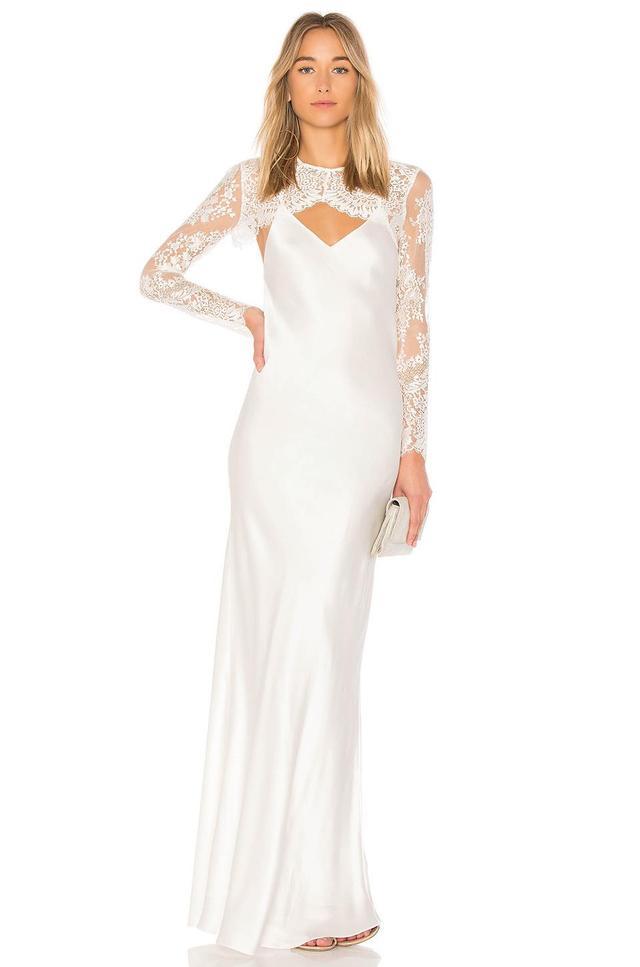 X Revolve Bias Lace Shrug Gown