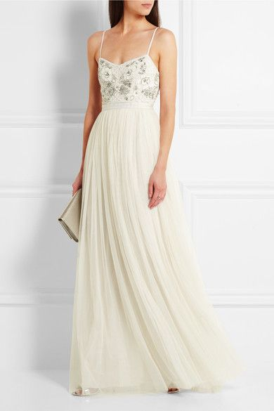 Embellished Satin-crepe And Tulle Gown