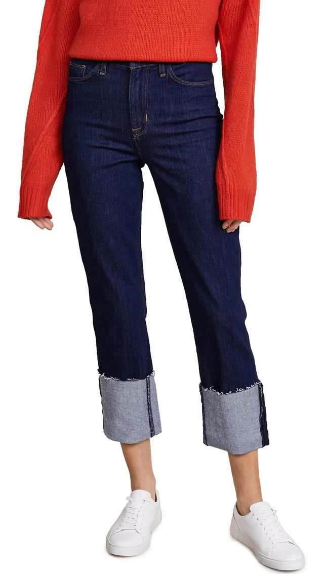 High Rise Zoeey Straight Cuffed Crop Jeans