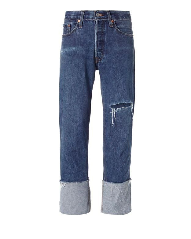 Straight Cuff Destroyed High-Rise Jeans