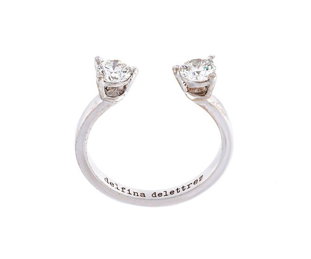'Dots' diamond midi fingertip ring