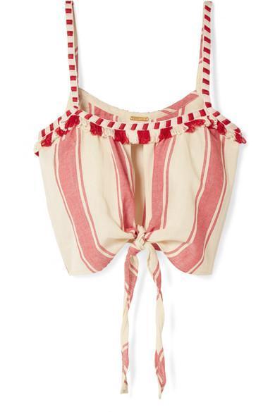 Tasseled Striped Cotton-Gauze Top
