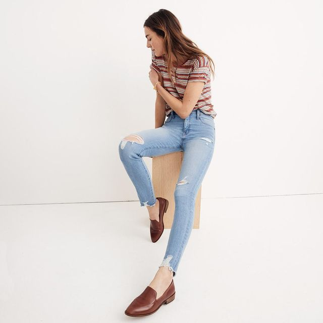 """Short 9"""" High-Rise Skinny Jeans in Ontario Wash: Distressed-Hem Edition"""