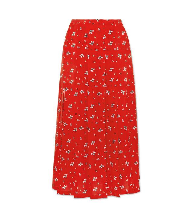 Georgia Pleated Floral-Print Silk Midi Skirt