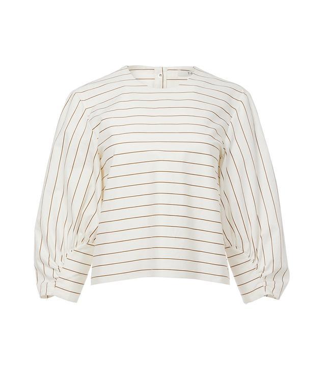 Tibi Sateen Stripe Cropped Shirred Sleeve Top
