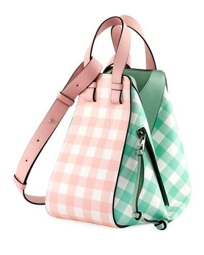 Hammock Gingham Leather Shoulder Bag