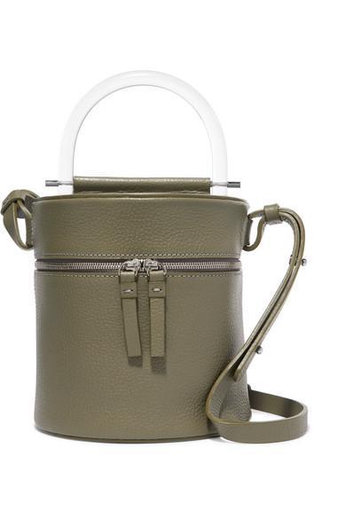 Drum Textured-leather Shoulder Bag