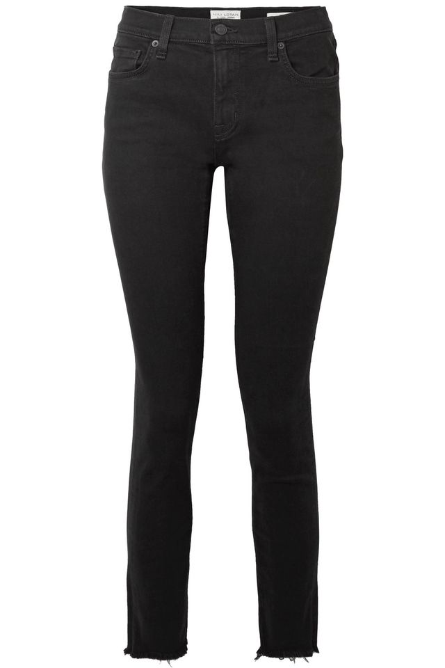 Frayed Mid-rise Skinny Jeans