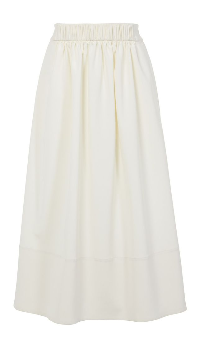 Stretch Faille Smocked Waistband Skirt