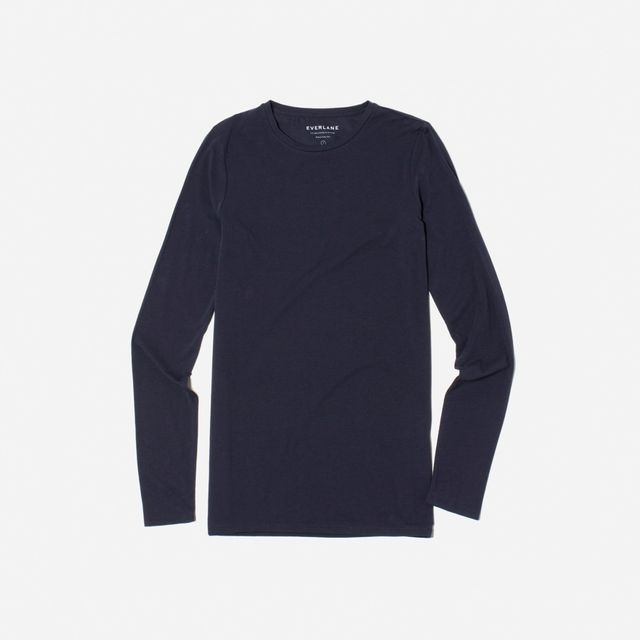 Women's Pima Stretch Long-Sleeve T-Shirt by Everlane in Navy, Size L
