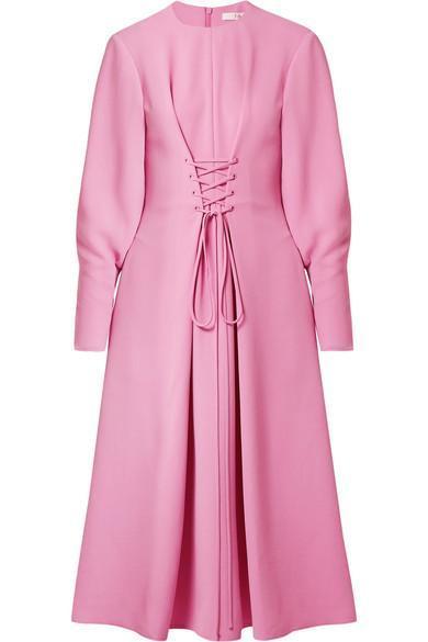 Lace-up Crepe Midi Dress