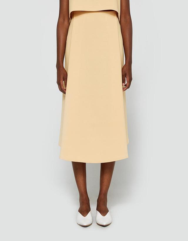 Stream Deep Pleated Midi Skirt in Yellow