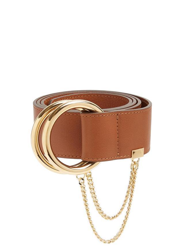 Gold-hoop leather belt