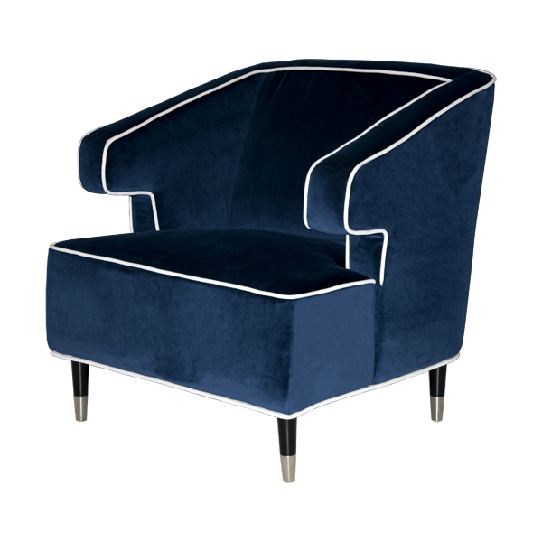 James Said Arthur Navy Arm Chair