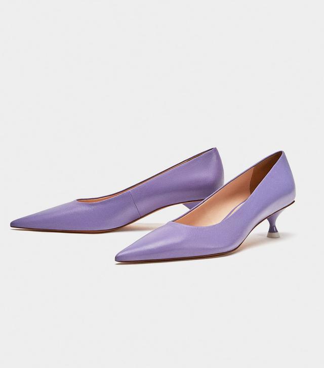 Zara Leather Mid-Heel Court Shoes