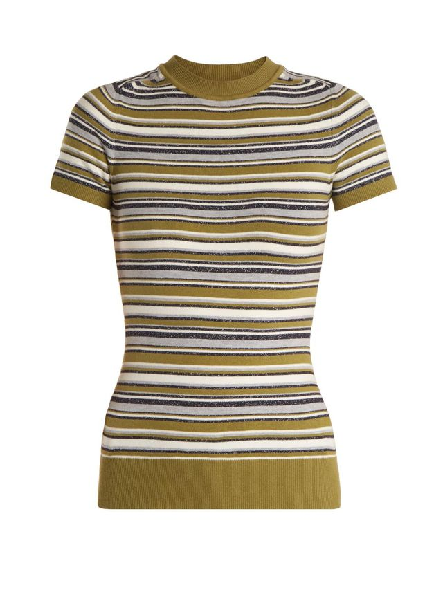 Crew-neck striped short-sleeved knit sweater