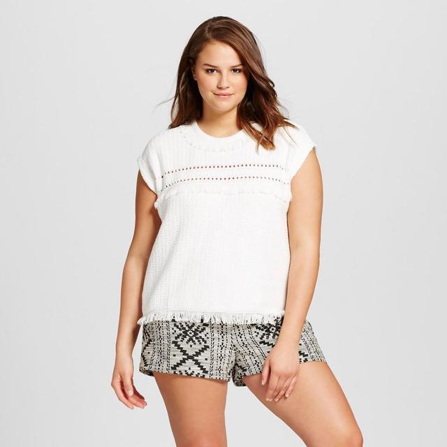 Plus Size Short Sleeve Fringe Sweater