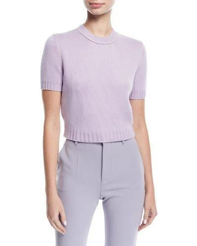 Knit Short-Sleeve Crop Sweater