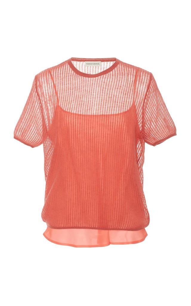 Short-Sleeve Open Knit Sweater