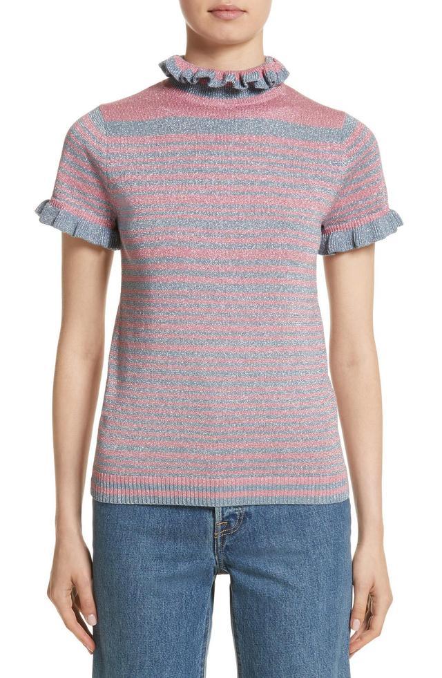 Joan Metallic Stripe Short Sleeve Sweater