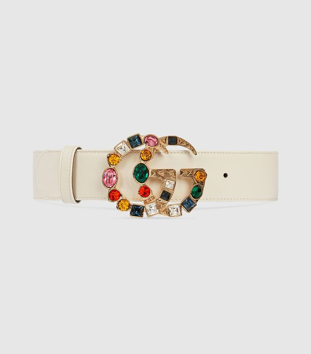 Leather Belt With Crystal Double G Buckle