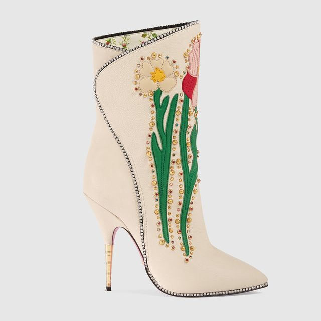 Leather Ankle Boot With Sylvie Web