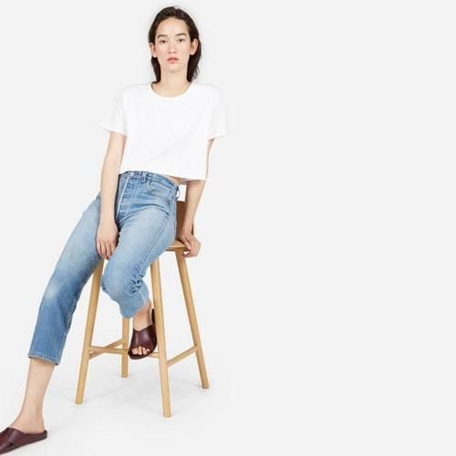 Women's Crop Crew T-Shirt by Everlane in White, Size XL