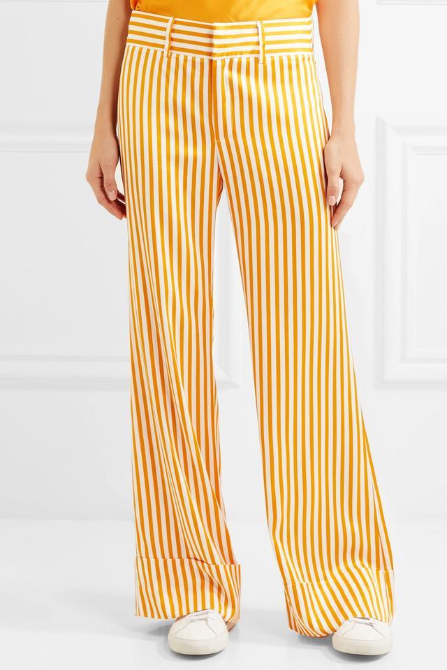 Maggie Marilyn Endless Optimist Striped Satin-Twill Wide-Leg Pants