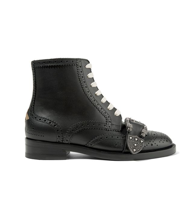 Queercore Embellished Leather Ankle Boots