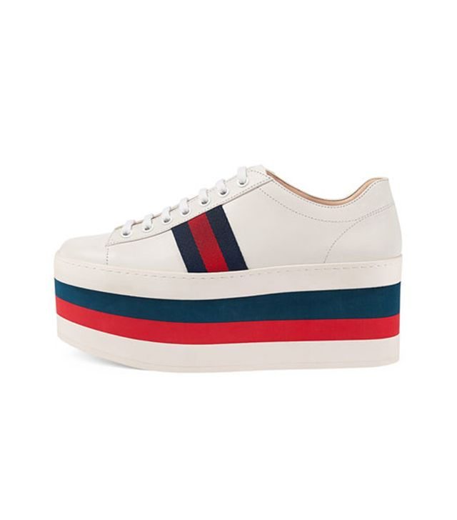 Gucci Peggy Striped Platform Sneaker