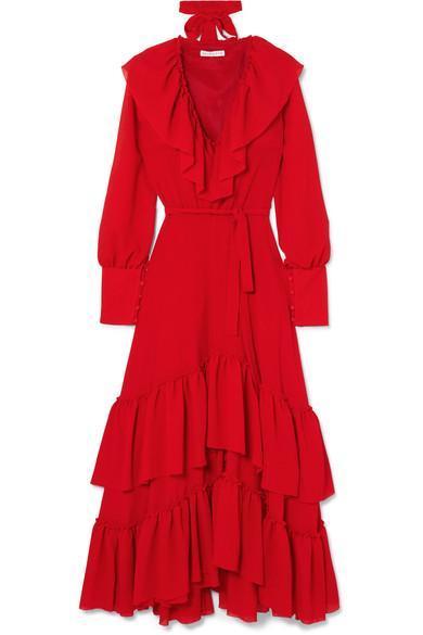 Renata Ruffled Crinkled-crepe Maxi Dress