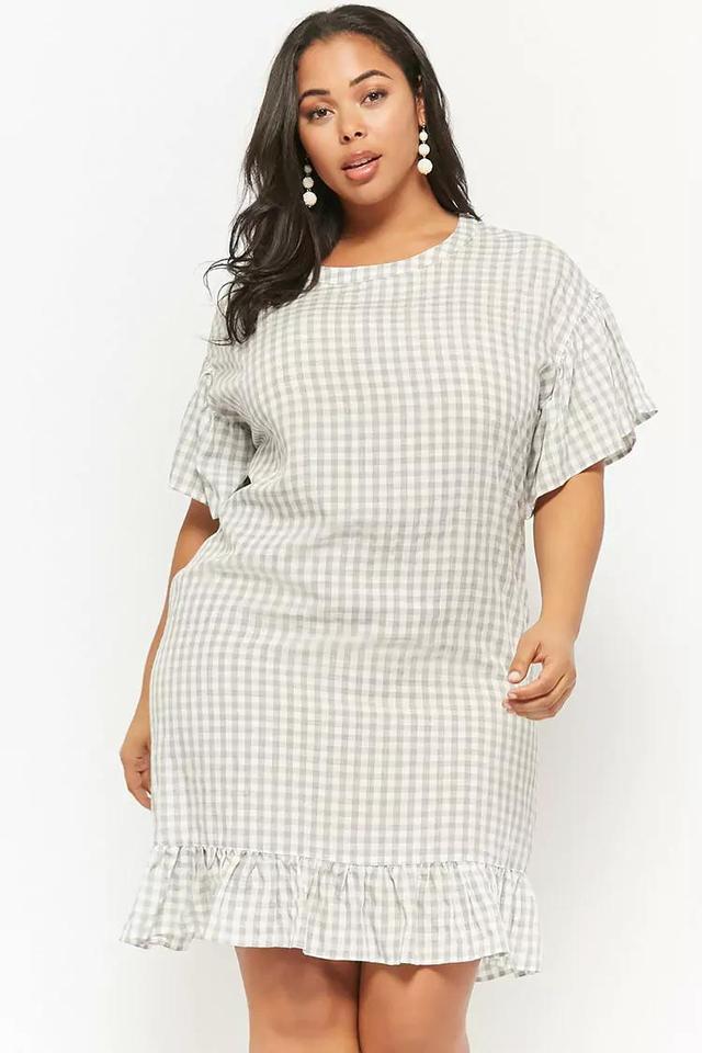 Plus Size Gingham Print Dress