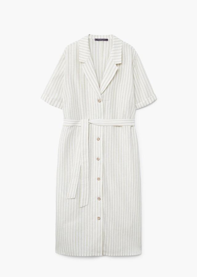 Violeta by Mango Striped Linen Dress