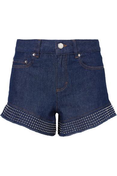 Studed Ruffled Denim Shorts
