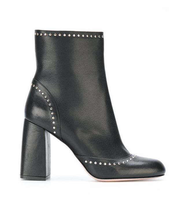 studded chunky heel boots