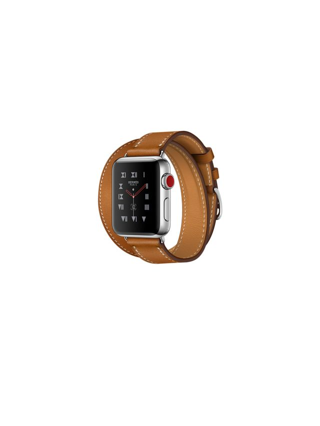 Apple Watch Hermès Stainless Steel Case with Fauve Barenia Leather Double Tour