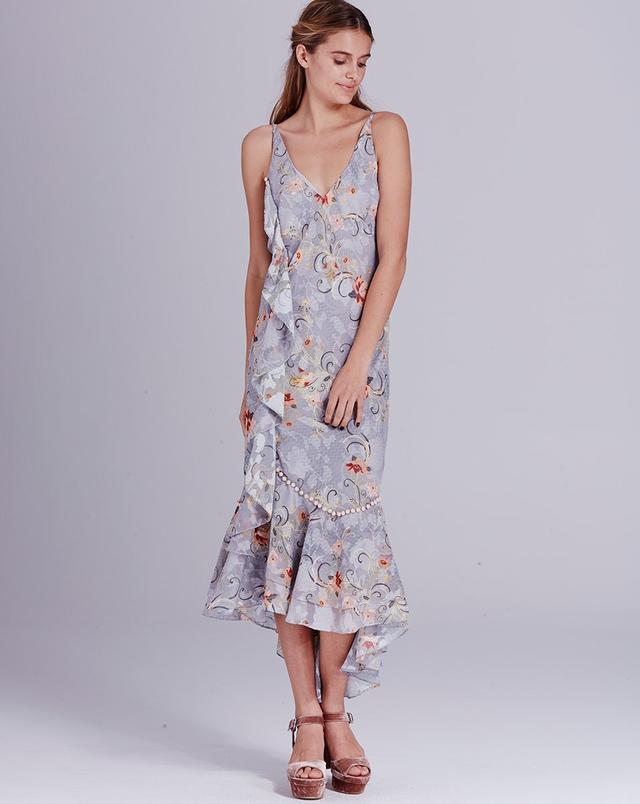 We Are Kindred Esme Ruffle Slip Dress in Sky Oriental