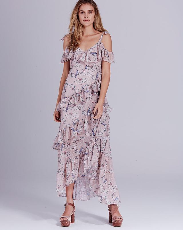 We Are Kindred Pippa Ruffle Maxi Dress in Ecru Dove