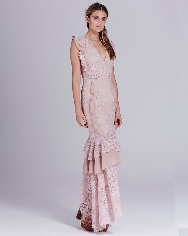 We Are Kindred Margot Fishtail Dress in Dusty Lace