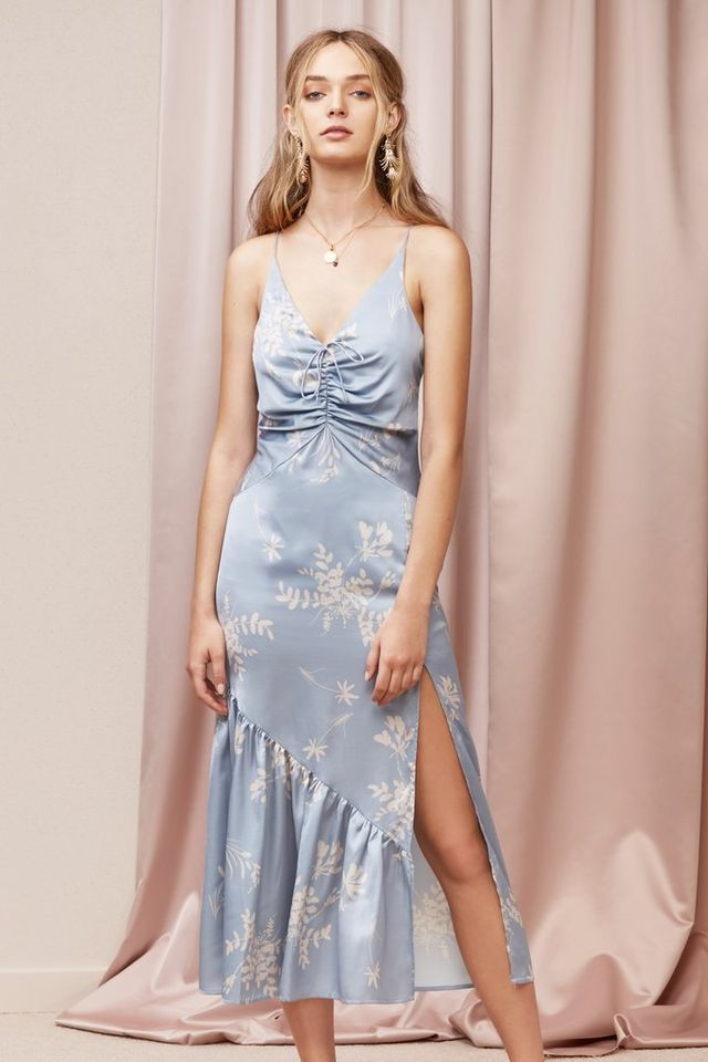 Finders Keepers Afterglow Dress in Steel Blue Floral