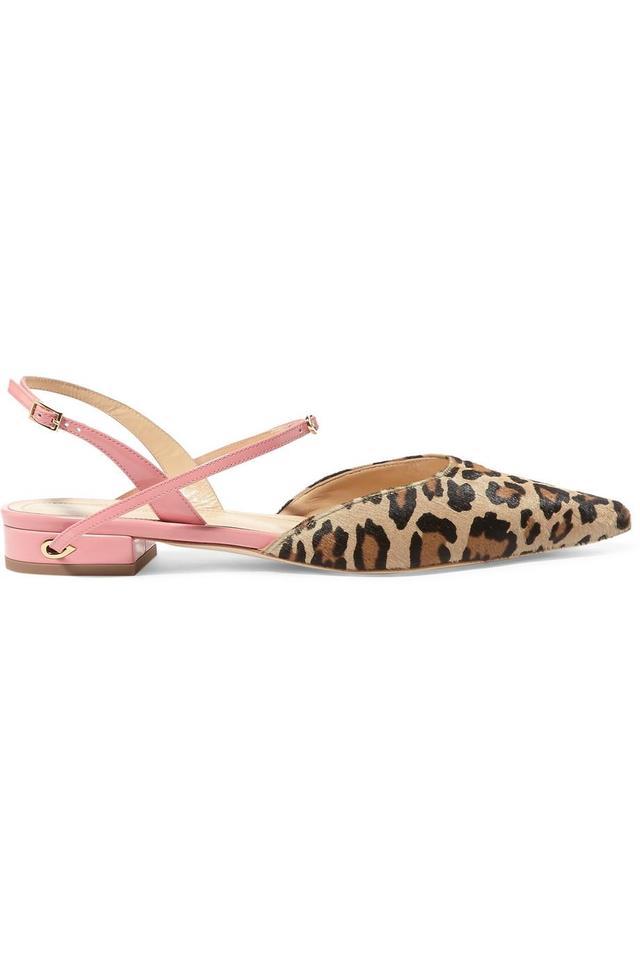 Jennifer Chamandi Vittorio Leopard-Print Calf Hair and Patent-Leather Point-Toe Flats