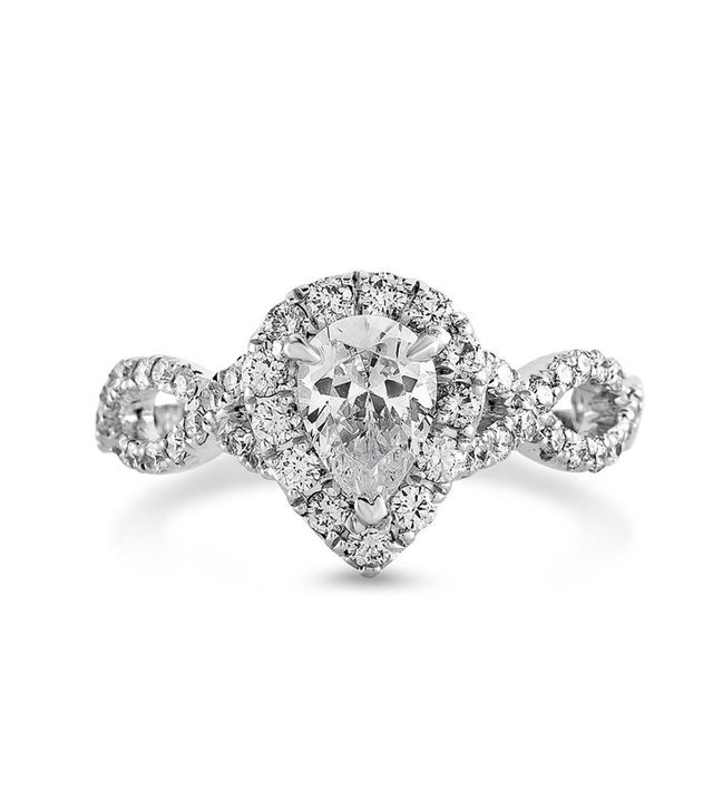Zales Certified Pear-Shaped Diamond Frame Twist Engagement Ring in Platinum