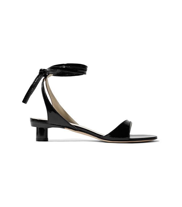 Scott Crinkled Patent-Leather Sandals