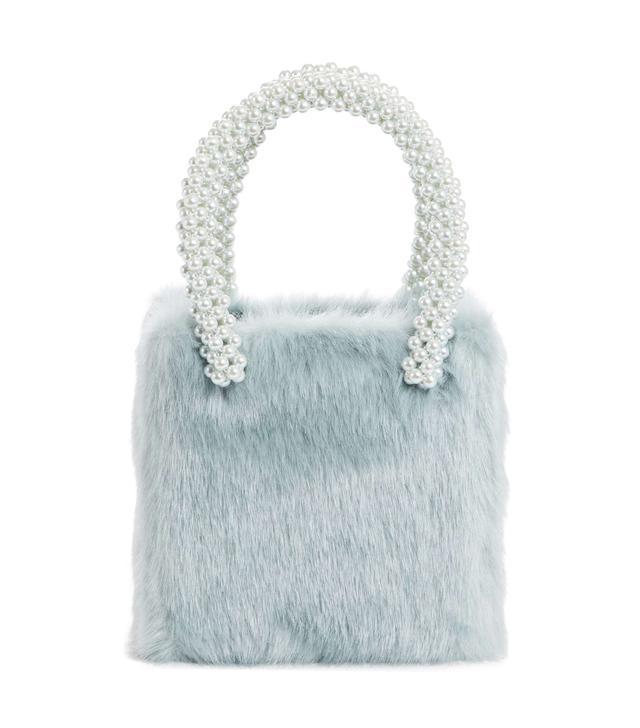 Una Check Faux Fur Bag With Imitation Pearl Handles