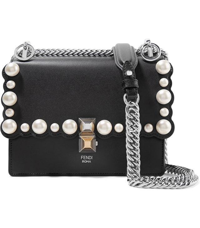 Kan I Mini Faux Pearl-Embellished Leather Shoulder Bag