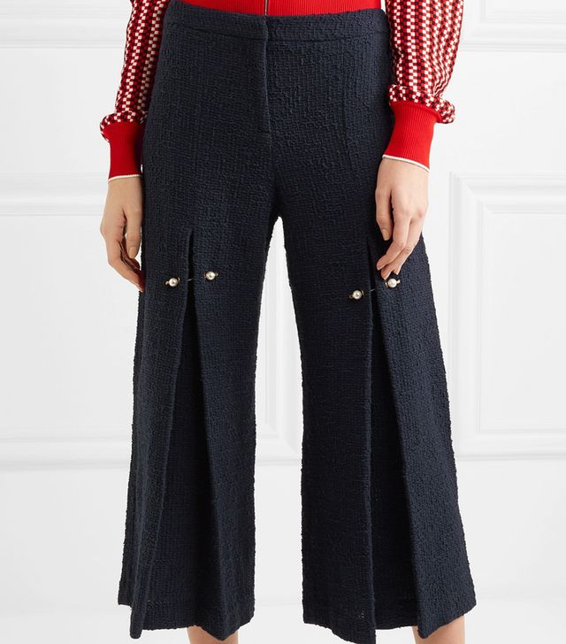 Bennie Faux Pearl-Embellished Pleated Cotton-Tweed Wide-Leg Pants