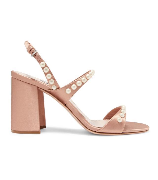 Faux Pearl-Embellished Satin Sandals