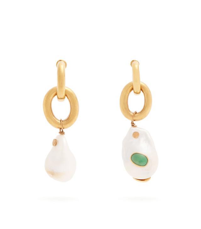 Pearl Drop Chain Earrings